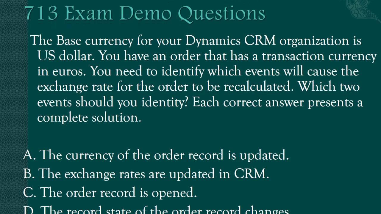 Examunion Microsoft Dynamics Crm 2016 Sales Mb2 713 Exam Questions
