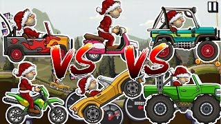 Hill climb racing 2 monster truck vs sportscar vs motocross vs super jeep vs scooter vs jeep