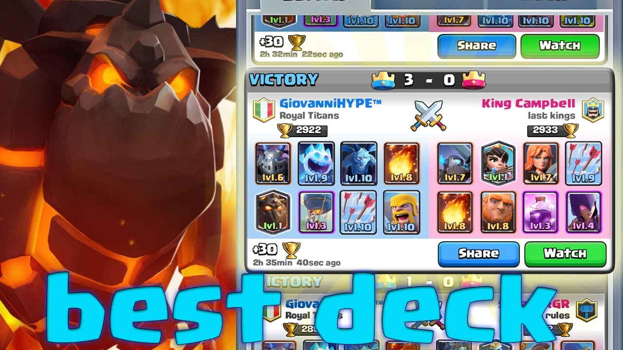 Best Deck With Lava Hound Arena 7 8 9 Clash Royale Youtube