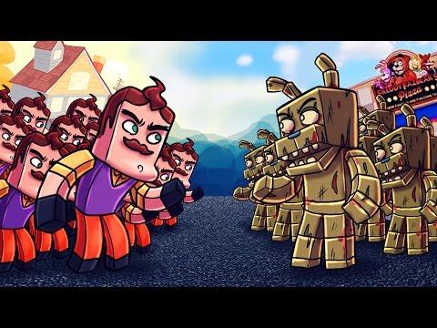 Minecraft   500 Neighbors Vs 35 Springtraps! (Hello Neighbor Massive Mob Battles)
