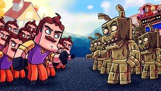 Minecraft | 500 Neighbors vs 35 Springtraps! (Hello Neighbor Massive Mob Battles)
