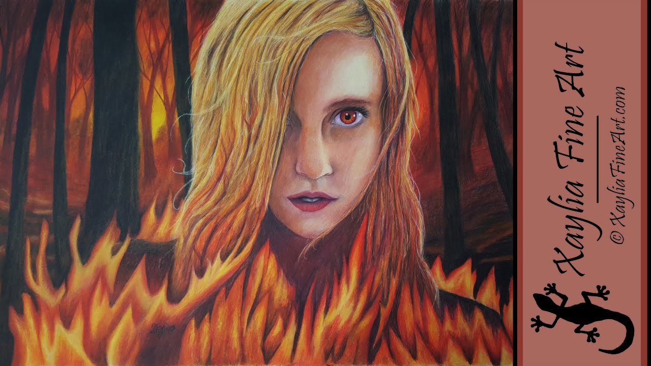 How to draw with colored pencils - Speed Drawing How To Draw Fire And A Portrait In Coloured Pencil Elemental Fire Youtube