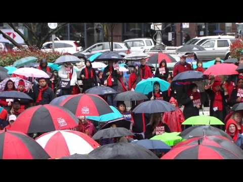 Nurses rally in Downtown Vancouver: Thursday March 6th 2014
