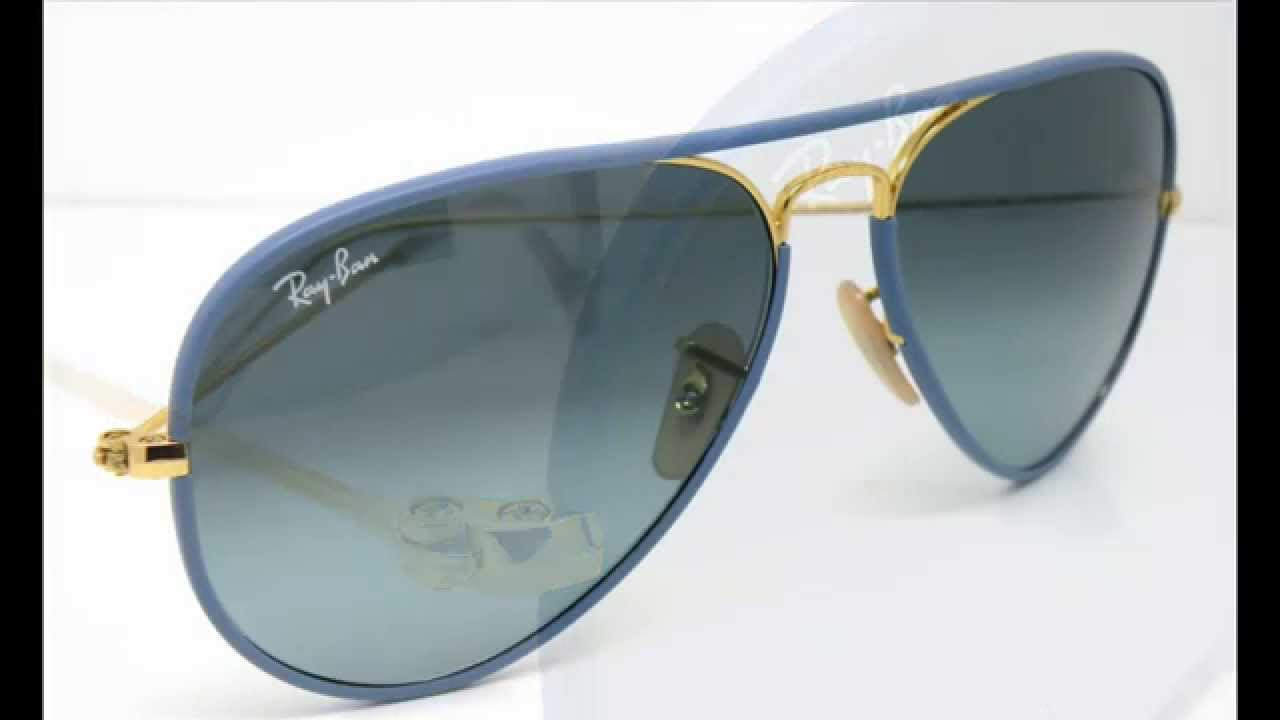 ray ban aviator cost  Ray Ban Aviator Full Color RB3025 JM Blue 澶櫧鐪奸彙 - YouTube