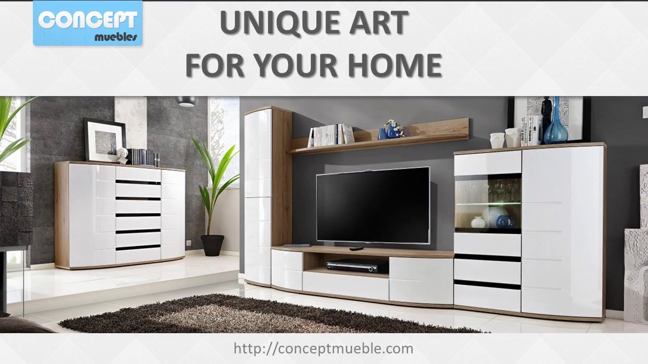 Living Room Wall Units - modular Wall Units with drawers - YouTube