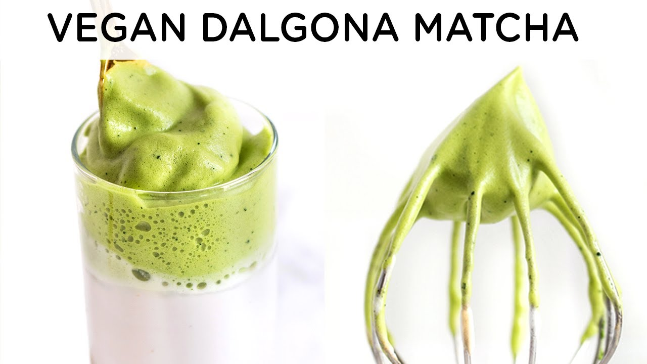 DALGONA MATCHA LATTE ‣‣ no egg & low sugar