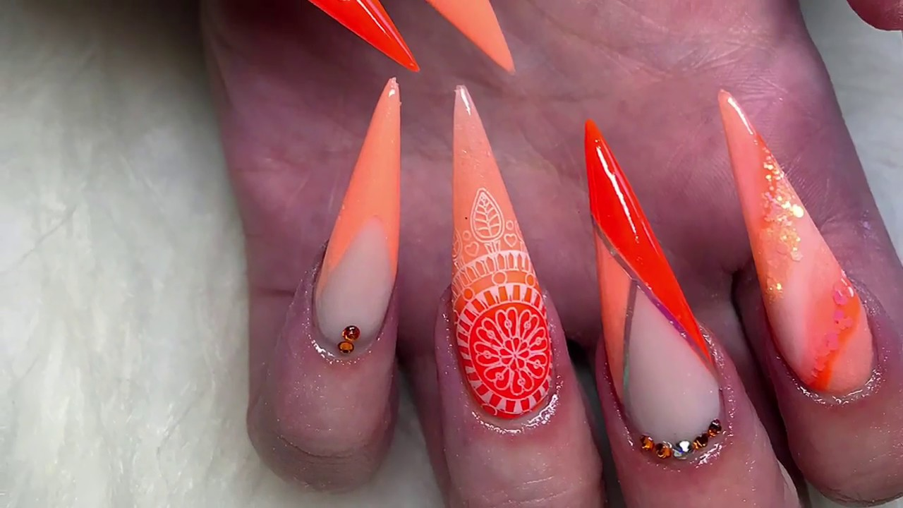 Bight summer acrylics ~ orange nails ~ colour block ~ long ...