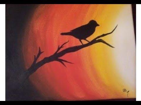 Bird On Tree Sunset Poster Color Painting Moonlight Bird Painting