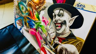 3D graffiti sketch drawing diabolic joker about chess poker