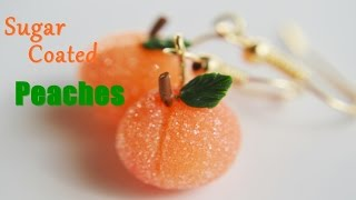 Polymer clay sugar coated Georgia peach earrings tutorial - DIY food jewelry