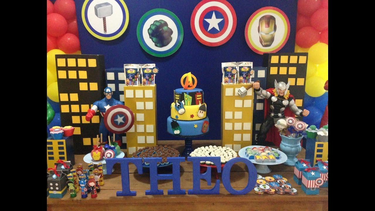 Decoraç u00e3o Vingadores YouTube # Decoração De Festa Os Vingadores
