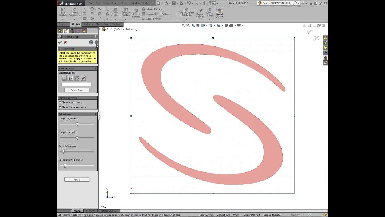 Autotrace Tools in SolidWorks