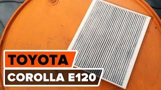 Kuinka vaihtaa raitisilmasuodatin TOYOTA COROLLA E120 -merkkiseen autoon OHJEVIDEO | AUTODOC