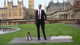 Amazing - worlds shortest and tallest man meet in Guinness Day