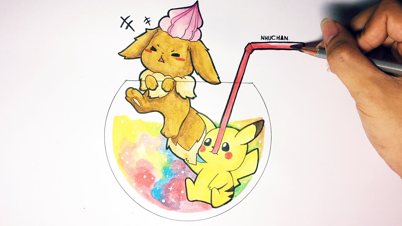 speed drawing pikachu and eevee cute version 1