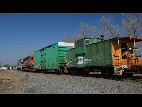 BNSF Freight Trains and work train in Kansas City and Olathe Kansas