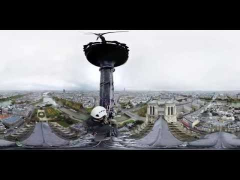 360 Video: Climbing spire of Notre Dame cathedral in Paris, France