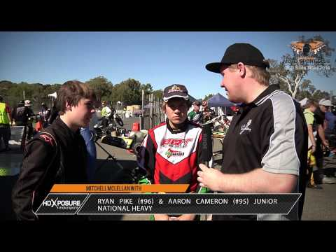 Ryan Pike #96 & Aaron Cameron #95 Junior National Heavy - Interview - 2014 QLD Karting Titles