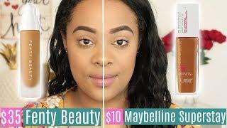 Fenty Beauty Foundation VS Maybelline Super Stay Foundation   CHEAP DUPE!!