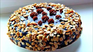 """Торт  """" Сникерс """"  🍫 Самый простой рецепт шоколадного торта с арахисом и крекером"""