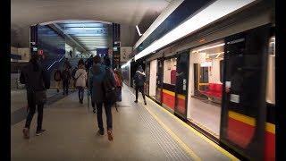 Poland, Warsaw, metro ride from Wilanowska to Kabaty + walk to TESCO, 2X elevator