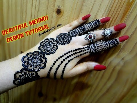 DIY Beautiful trendy stylish simple henna jewelery ornamental mehndi designs for hands for eid,party thumbnail