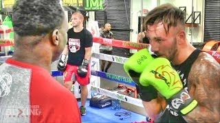 Jeff Mayweather padwork with amateur boxer from Belgium