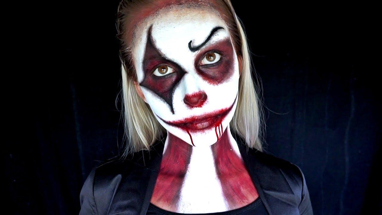 halloween makeup: bloody clown/joker in suit | tutorial, easy