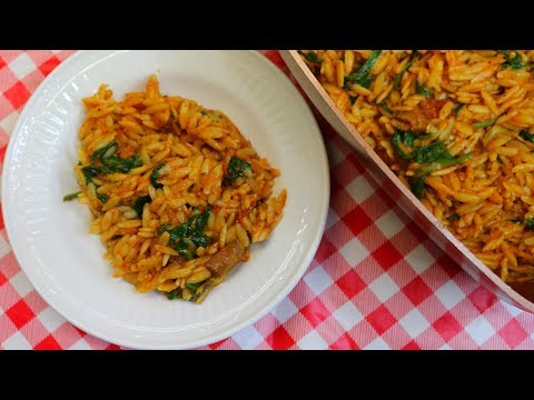 Creamy Tomato Orzo With Spinach ~ Quick & Easy Pantry Side Dish ~ Noreen's Kitchen