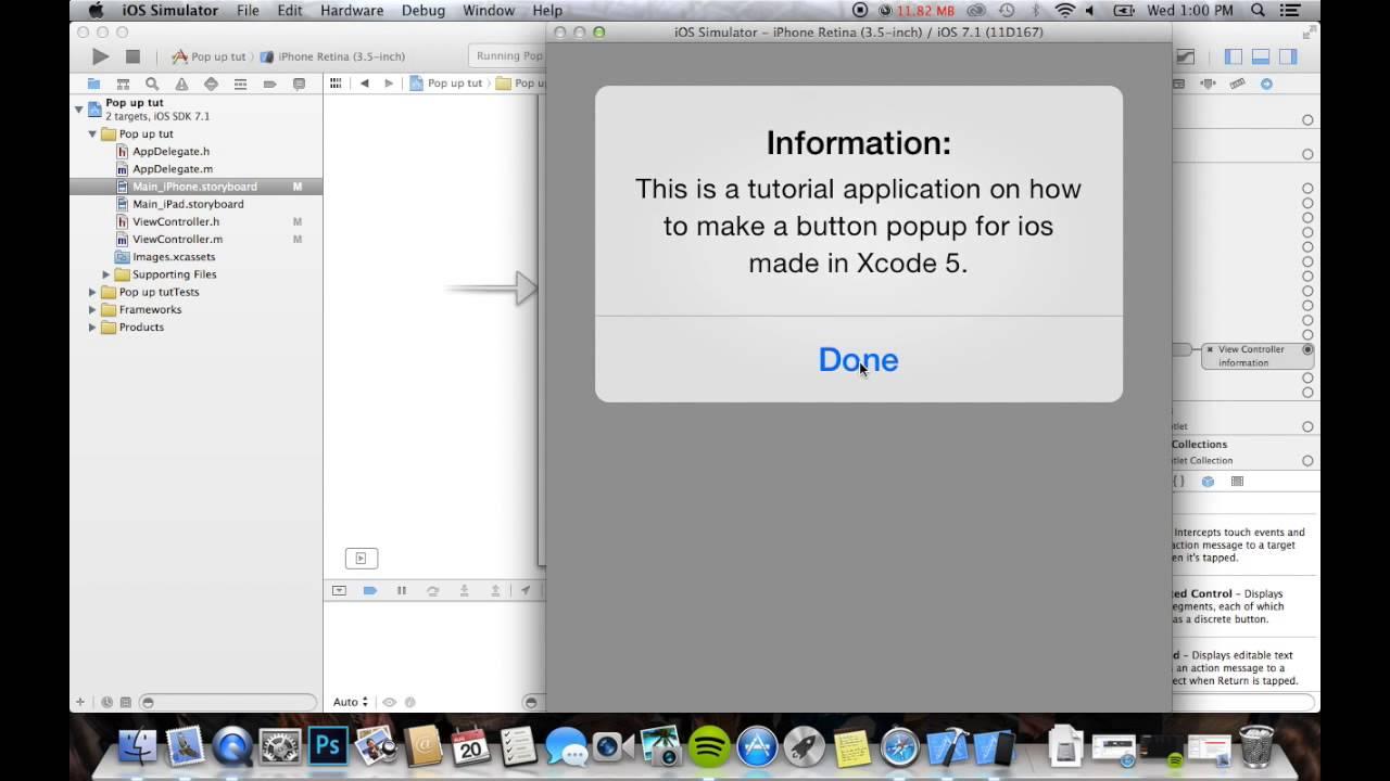 How To Add Popup (for Ios) In Xcode 5 (xcode Tutorial #1) App Development  Tutorials
