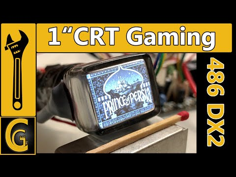 "1"" CRT Gaming on 486 Setup [Vintage Computer & Camera Viewfinder mini crt monitor]"