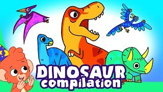 Learn Dinosaurs for Kids | Dinosaur Cartoon videos | t-rex velociraptor | Club Baboo