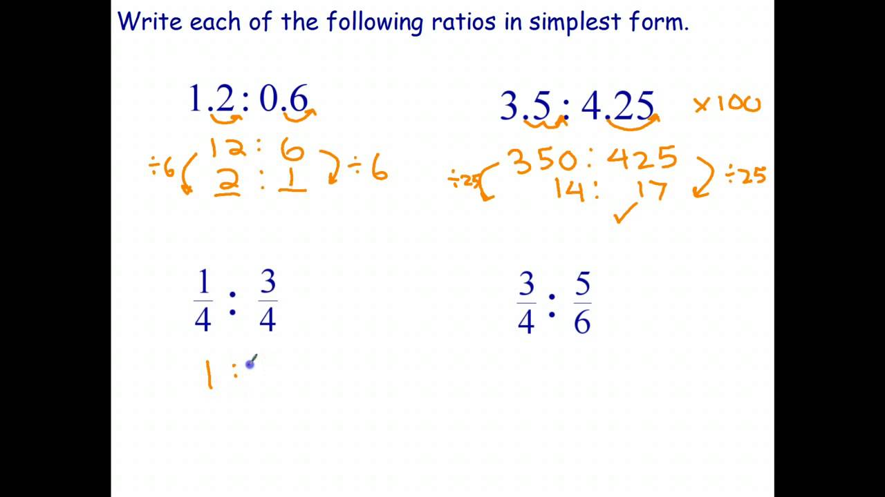Simplifying Ratios Involving Decimals and Fractions - YouTube