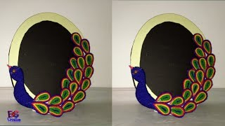 Diy easy peacock shape photo frame|peacock design photo frame ideas screenshot 1