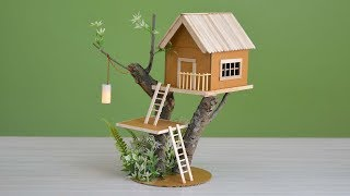 Wow! a house on a tree | making a small cardboard house  with light