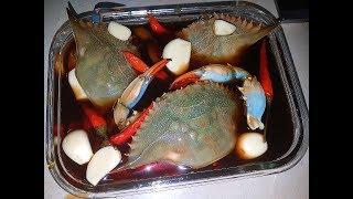 ĂN SÁNG CHẢ MỰC, LÀM GHẸ SỐNG NGÂM TƯƠNG HÀN QUỐC- Raw crabs marinated in soy sauce
