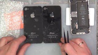 #031 Замена задней крышки iPhone 4. Как установить дешевую крышку.