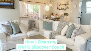 How to Clean Your Slipcover Sofa // Wash my White Ikea Ektorp Couch Covers