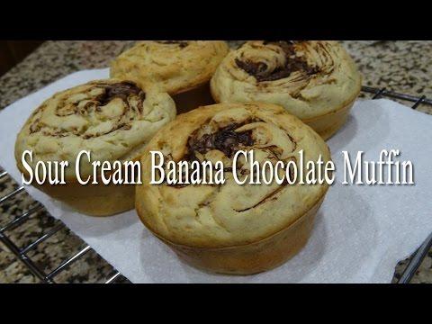 Sour Cream Banana Chocolate Muffin