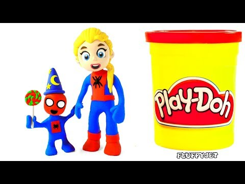 Spiderman Baby & Giant Candy Kinder Surprise Eggs Disney Frozen Play Doh Stop Motion kids song video
