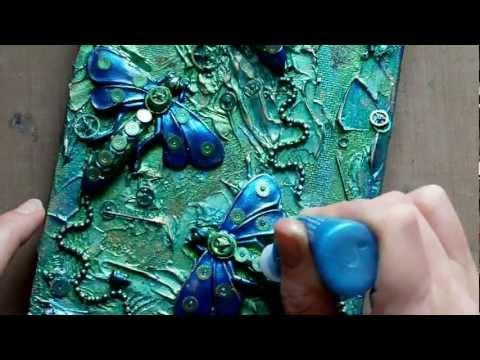 Mixed Media Art Canvas - Steampunk Dragonflies