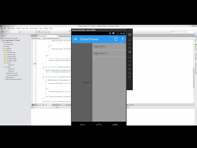Xamarin Android Tutorial   50   Right Navigation Drawer