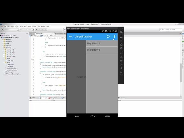 Xamarin Android Tutorial   50   Right Navigation Drawer