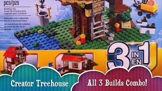 Time Lapse Complete Series All 3 Builds Of Lego Creator Treehouse 3 In 1 Toy Set