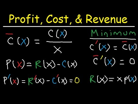 Marginal Revenue, Average Cost, Profit, Price & Demand Funct