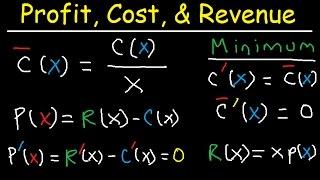 Marginal Revenue, Average Cost, Profit, Price & Demand Function - Calculus