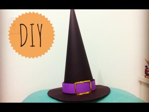 2c01bb080ca6f Halloween - Como fazer  chapéu de bruxa DIY - Witch s Hat - YouTube