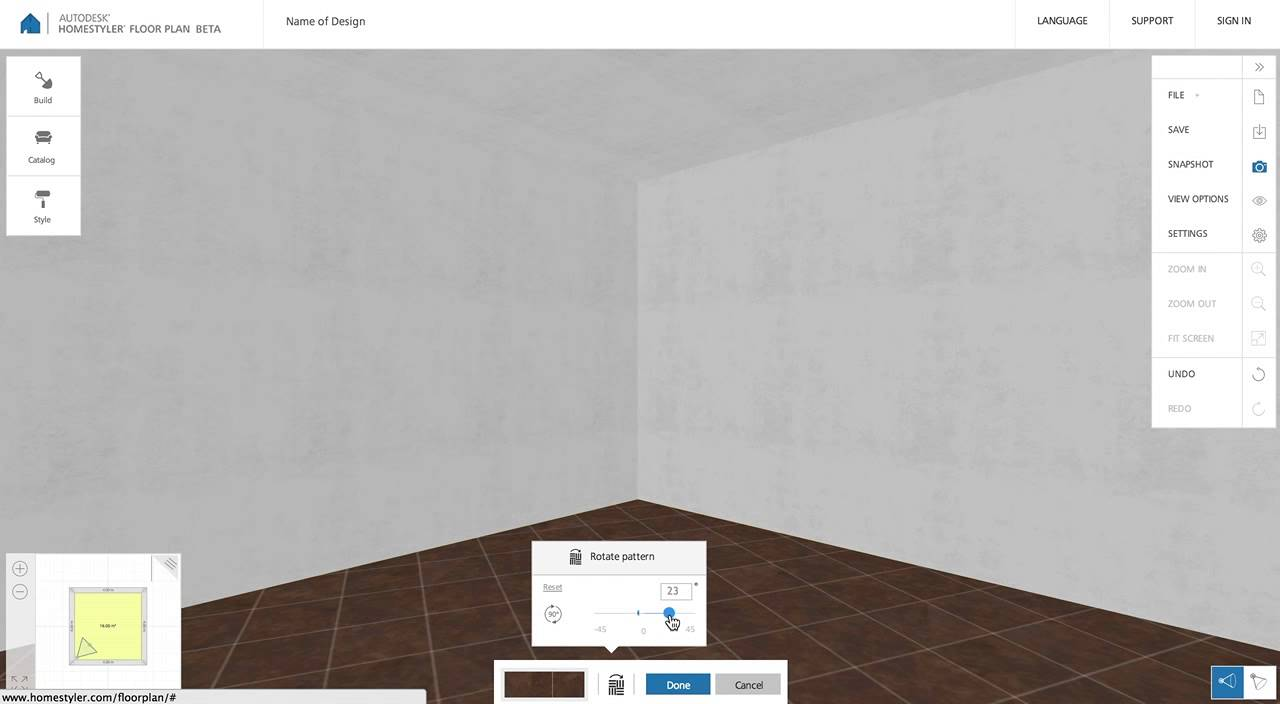 Homestyler Floor Plan Beta: How to Rotate Floor Pattern - YouTube