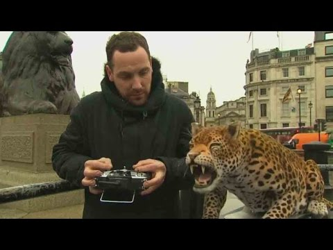 Robot leopard in London's Trafalgar Square is up for a purpose