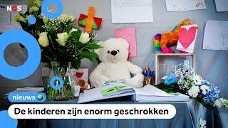 Bloemen en knuffels op eerste schooldag na flatbrand